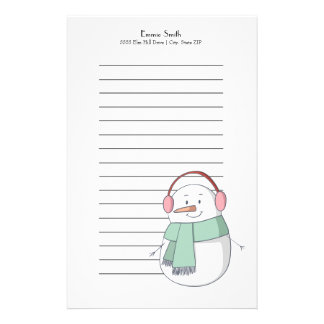 Personalized Lined Christmas  Snowman Stationery
