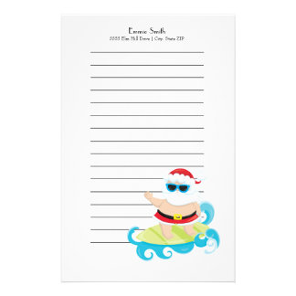 Personalized Lined Santa Surfing the Waves Stationery