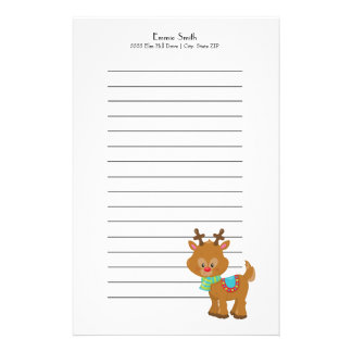 Personalized Lined Santa's Reindeer Christmas Stationery