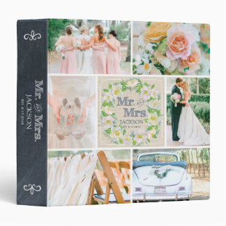 PERSONALIZED LINEN FLORAL 2 WEDDING PHOTO COLLAGE VINYL BINDERS