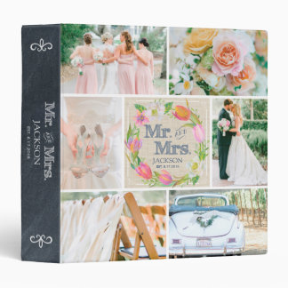 PERSONALIZED LINEN FLORAL 3 WEDDING PHOTO COLLAGE BINDER
