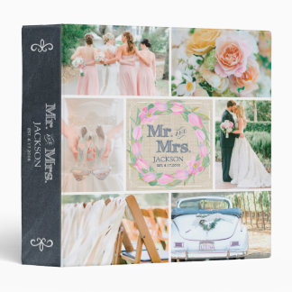 PERSONALIZED LINEN FLORAL 4 WEDDING PHOTO COLLAGE BINDER