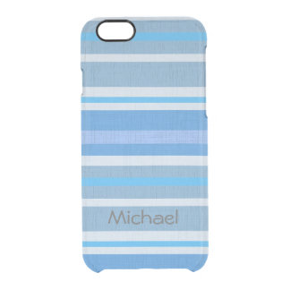 Personalized Linen Look Shades of Blue Stripes Clear iPhone 6/6S Case