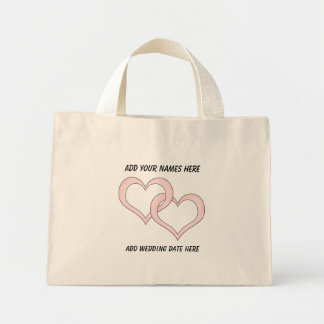 Personalized Linked Hearts Wedding Tote Bag