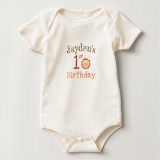 Personalized Lion First Birthday Organic Bodysuit