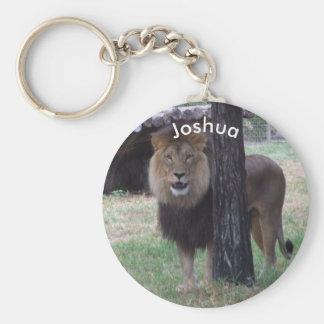 Personalized Lion Keyring Basic Round Button Keychain