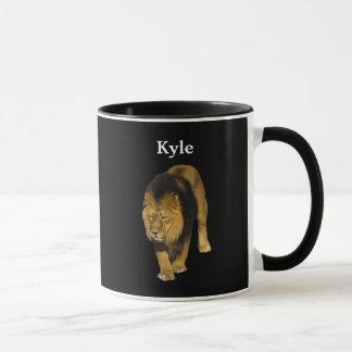 Personalized Lion On Black Mug