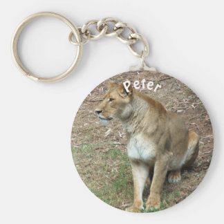 Personalized Lioness Basic Round Button Keychain