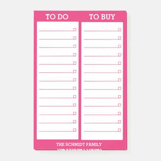 Personalized List- To Do, To Buy - Hot Pink Post-it Notes | Zazzle.ca