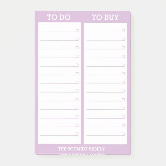 Personalized List- To Do, To Buy - Lavender Post-it Notes