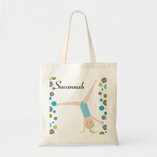 Personalized Little Blonde Gymnast in Aqua Tote Bag