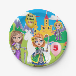 Personalized Little Girl's Kingdom Birthday Paper Plate