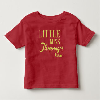 Personalized Little Miss Threenager Birthday Shirt