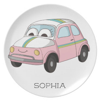 Personalized Little Pink Car Child's Plate