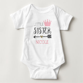 Personalized Little Sister Baby Bodysuit