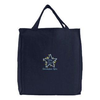 Personalized little star boys embroidered tote bag