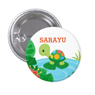 Personalized Little Turtle Button