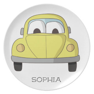 Personalized Little Yellow Car Child's Plate
