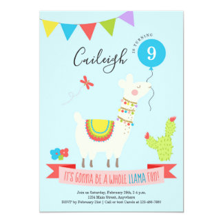 Personalized Llama Desert Themed Birthday Party Card