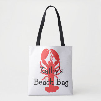 Personalized Lobster Beach Bag with anchors