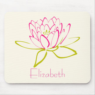 Personalized Lotus Flower / Water Lily Mouse Pad