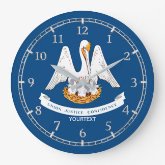 Personalized Louisiana State Flag Design on Large Clock