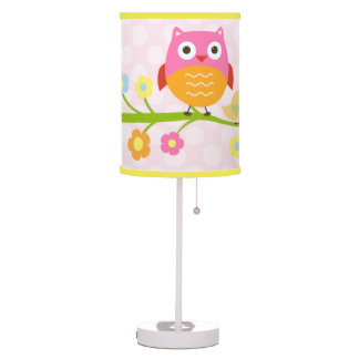 Personalized Love Birds & Owl w dots Nursery Lamp