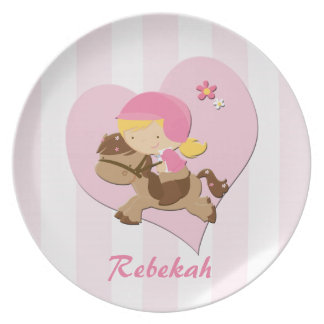 Personalized Love Horseriding Pink Stripes Plate