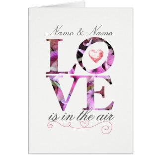 Personalized Love is in the Air Wedding Card