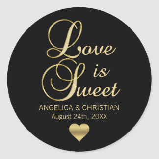 Personalized LOVE IS SWEET Black Gold Wedding Classic Round Sticker