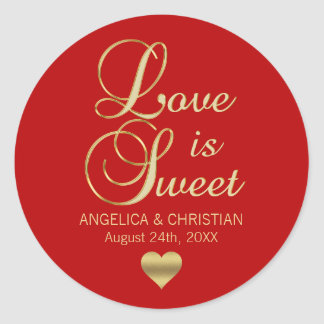Personalized LOVE IS SWEET RED Gold Wedding Classic Round Sticker