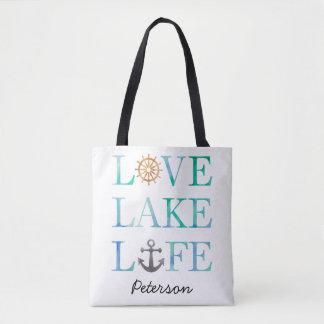 Personalized Love Lake Life Nautical Watercolor Tote Bag