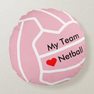 Personalized Love Netball Heart and Ball Design Round Pillow
