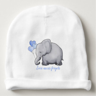 """Personalized """"Love Never Forgets"""" Cute Elephants Baby Beanie"""