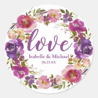 Personalized Love Wedding Purple Floral Wreath Classic Round Sticker