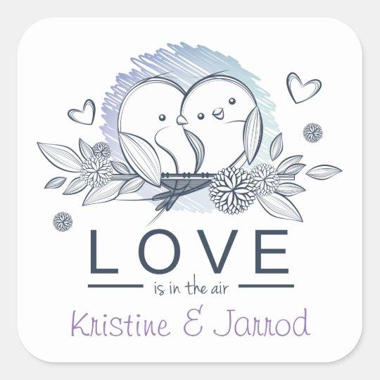 Personalized Lovebirds Purple Love Wedding Square Sticker