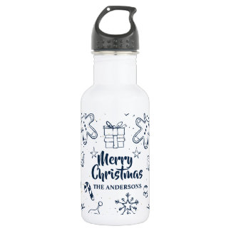 Personalized Lovely Christmas Sketch Water Bottle