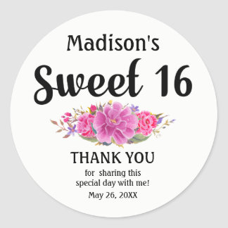 Personalized lPink Floral Sweet Sixteen Birthday Classic Round Sticker