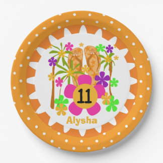 Personalized Luau 11th Birthday Paper Plates