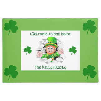 Personalized Lucky Leprechaun Our Home Doormat