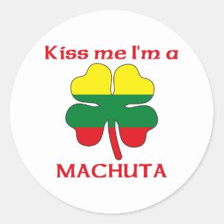Personalized Macedonian Kiss Me I'm Machuta Classic Round Sticker