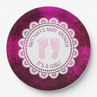 Personalized Magenta Girl's  Baby Shower Plate
