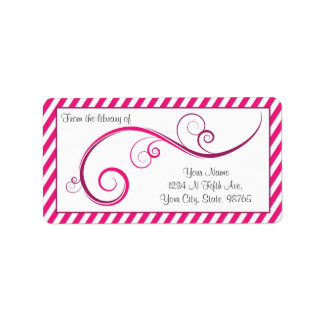Personalized Magenta Swirl Bookplate Label