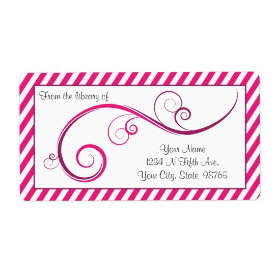 Personalized Magenta Swirl Bookplate Shipping Label