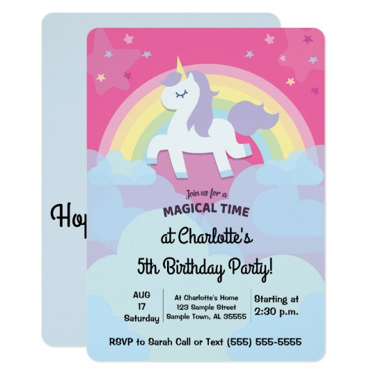 Personalized Magical Unicorn Birthday with Photo Card