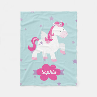Personalized Magical Unicorn Fleece Blanket