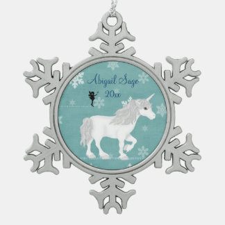 Personalized Magical White Unicorn and Fairy Snowflake Pewter Christmas Ornament