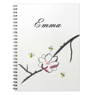 Personalized Magnolia and Honey Bees Spiral Notebook