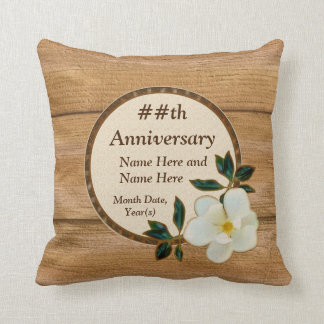 Personalized Magnolia and Wood Anniversary Pillows