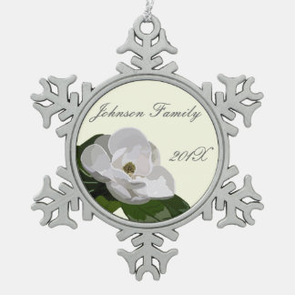 Personalized Magnolia Flower Christmas Snowflake Pewter Christmas Ornament
